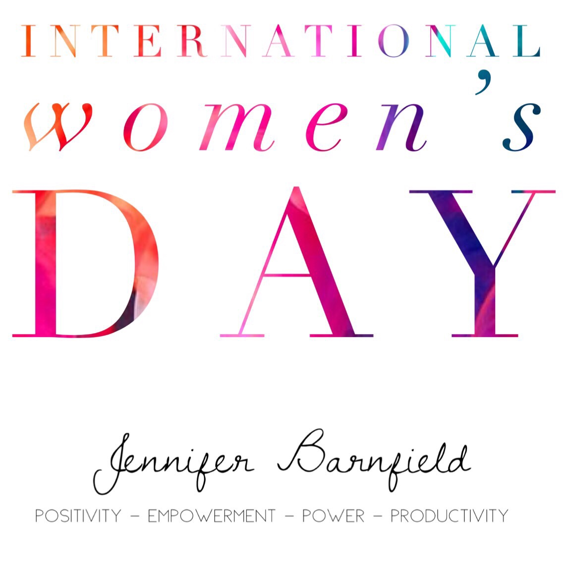 Jennifer Barnfield - International Women's Day 2018